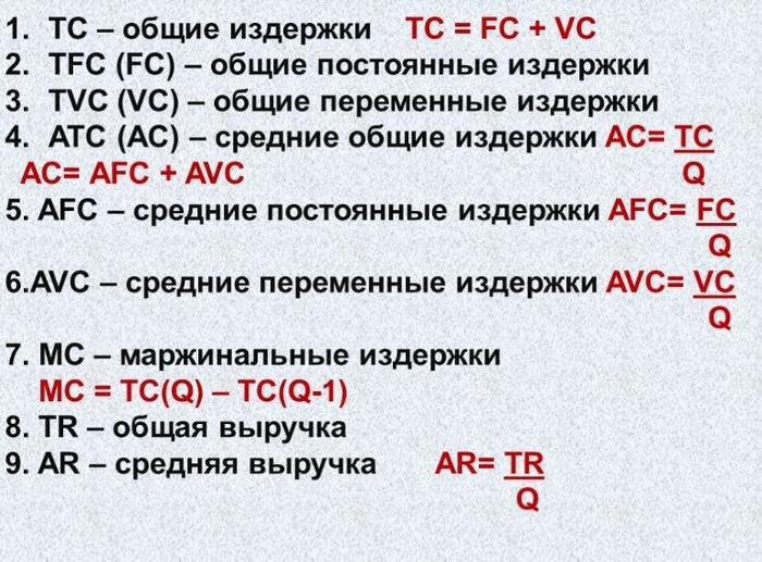 Применяемые формулы