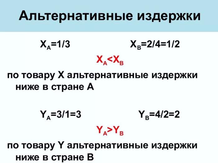 Пример расчета альтернативных издержек