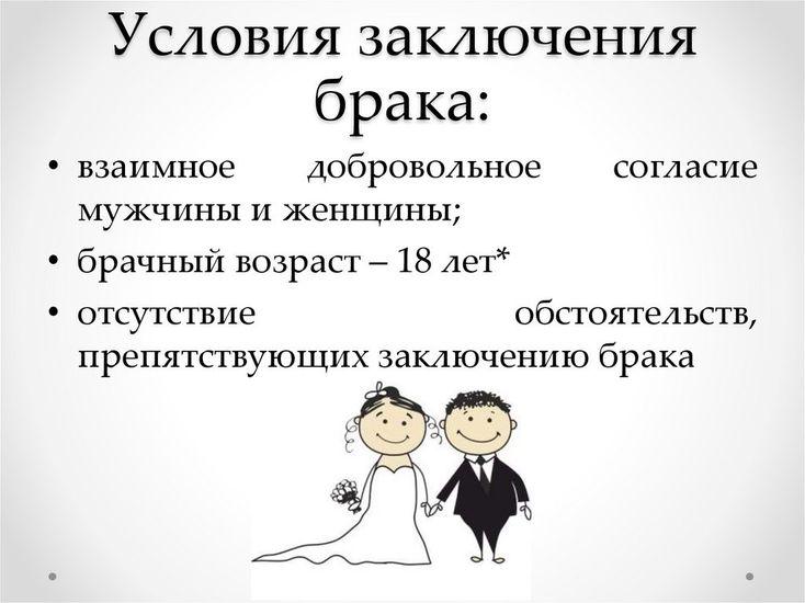 Условия для заключения брака
