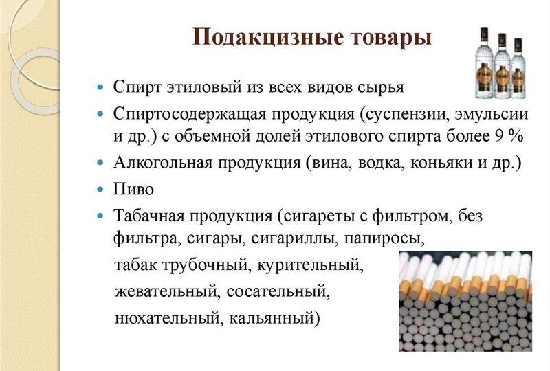 Перечень подакцизных товаров