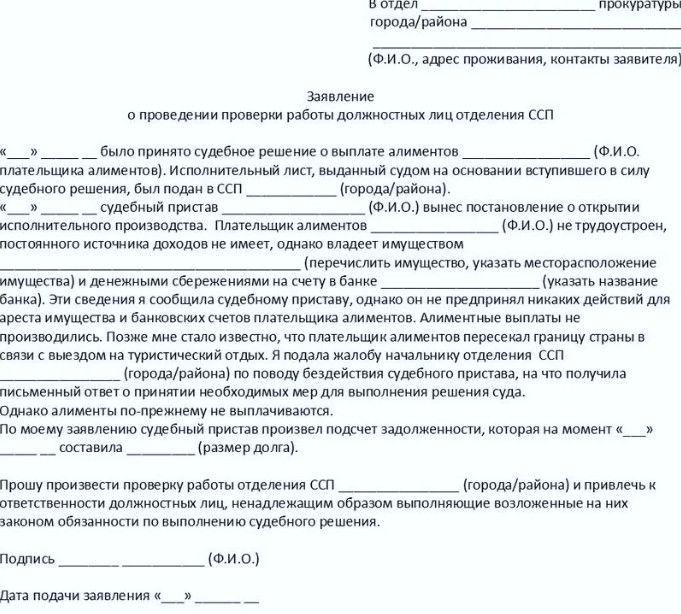 Бланк заявления о проведении проверки в отношении должностных лиц ФССП